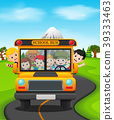 illustration of children of a school bus 39333463