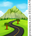 Illustration of a road going to the mountain 39333479