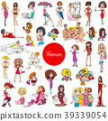 cartoon women characters large set 39339054