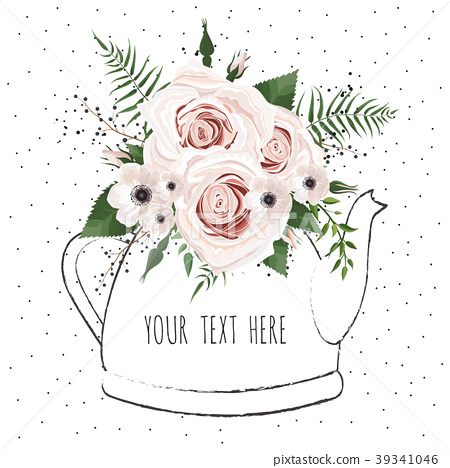 illustration with bouquet of flowers in a teapot.  39341046