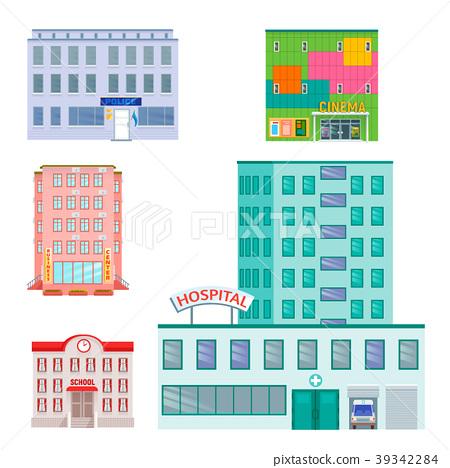 City Public Buildings Houses Flat Design Office Stock Illustration