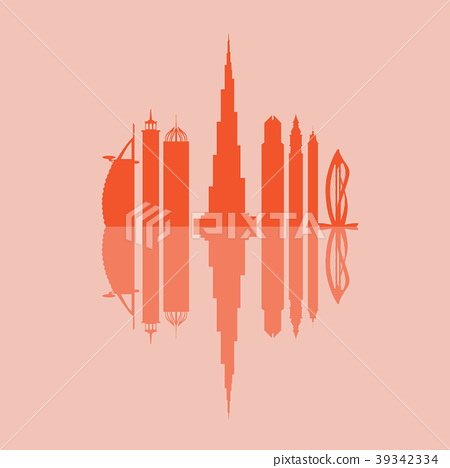United Arab Emirates skyscrapers silhouette Dubai 39342334