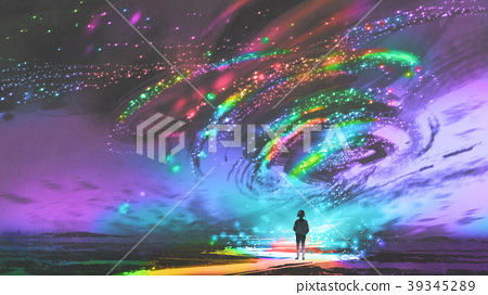 girl looking at the fantasy cosmic storm 39345289