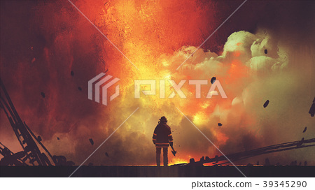 brave firefighter facing the explosion 39345290