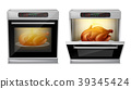 Vector realistic oven with turkey on plate inside 39345424