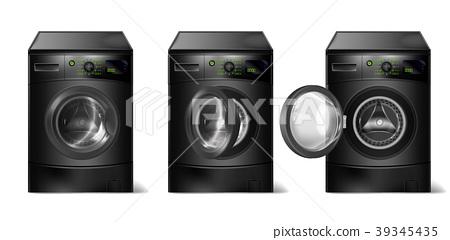 Vector set of realistic black washing machines 39345435
