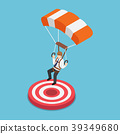 Businessman with parachute landing on the target. 39349680