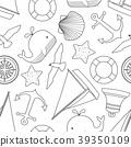 Random happy nautical in black outline 39350109