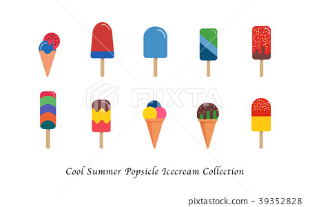 Cool summer popsicle ice cream sweet collection 39352828