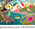Group of funny tropical birds in the jungle 39354454