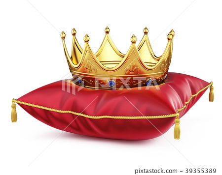 Royal gold crown on red pillow isolated on white 39355389