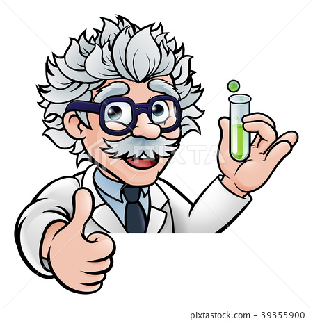 Cartoon Scientist Holding Test Tube Thumbs Up 39355900