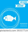 Fish icon on a blue background with abstract circl 39357710