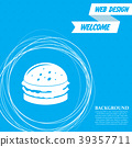 Burger, sandwich, hamburger icon on a blue backgro 39357711