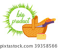 Basket with Wine, bread and Cheese flat vector 39358566
