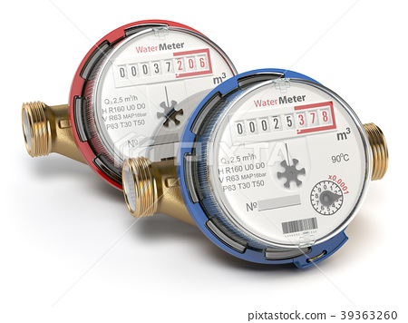 Water meters isolated on white background. 39363260
