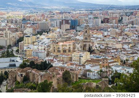 Cityscape aerial view of Malaga, Andalucia, Spain. 39363425