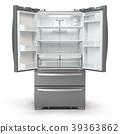 Open fridge freezer. Side by side refrigerator 39363862