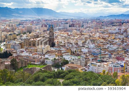 Cityscape aerial view of Malaga, Andalucia, Spain 39363904