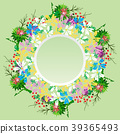 round wreath of field flowers of chamomiles, twigs 39365493