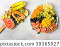 Top view of rainbow fruits and berries 39365927