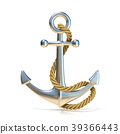 Steel anchor with rope isolated on a white 3D 39366443