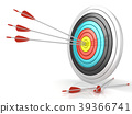 Archery target with red arrows in the center 39366741