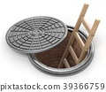 Opened street manhole with wooden ladder inside 3D 39366759