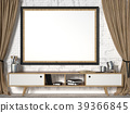 Mock up picture frame with brown curtains. 3D 39366845