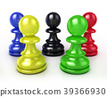 Colorful chess pawns 39366930