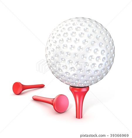 Golf ball on red tee. 3D 39366969