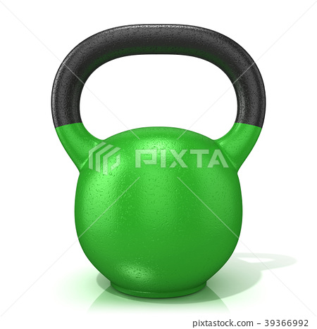 Green kettle bell weight, isolated on a white 3D 39366992