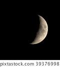 Waxing crescent moon seen with telescope 39376998