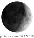 Waxing crescent moon seen with telescope, isolated 39377019