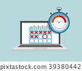 laptop with calendar and stopwatch schedule 39380442