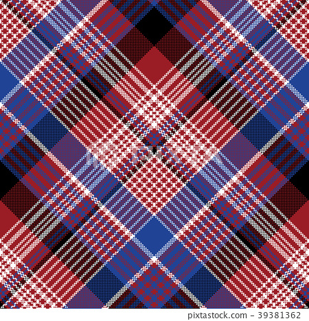 Red blue pixel check seamless pattern 39381362