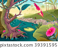 View on the forest with colored flowers and river 39391595