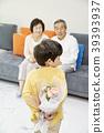 가족, 꽃다발, 노인 39393937