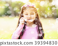 happy little Girl blowing Soap Bubbles 39394830