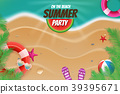 On the beach summer party topview background scene 39395671