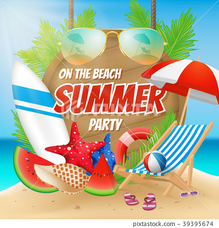 Summer party on the beach poster design 39395674