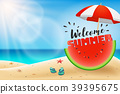 Welcome summer lettering on watermelon sliced  39395675