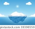 Iceberg in blue ocean on the summertime 39396550