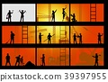 Construction worker silhouette at work background 39397955