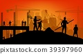 Construction worker silhouette at work background 39397960