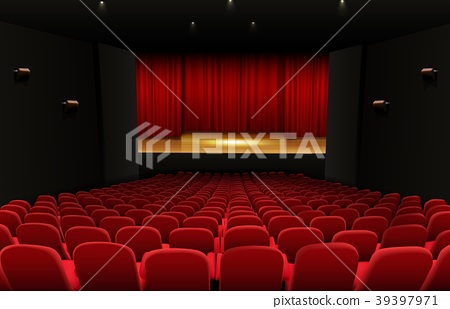 Theater stage with red curtains and seats 39397971
