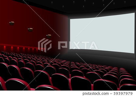 Cinema auditorium with red seats and white blank s 39397979