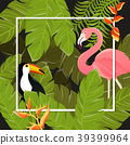 tropical, leaf, vector 39399964