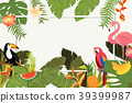 tropical, leaves, vector 39399987