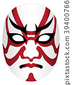 Japan kabuki mask on a white background 39400766